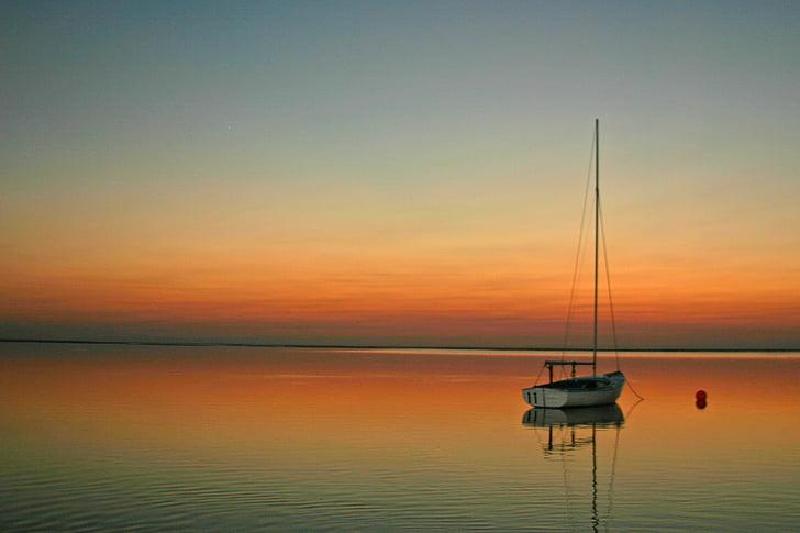 segelbåt, segling, solnedgång, segelbåt, segel, naturen, havet
