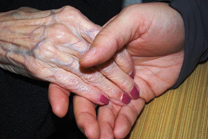 hender, huden, holder hånden, eldre, Senior, alderen, gamle