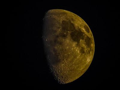Crescent, månen, natt, Moonlight, humör, guld, Sky
