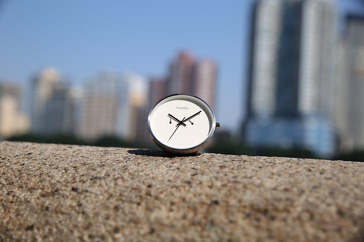 reloj, simple, escena
