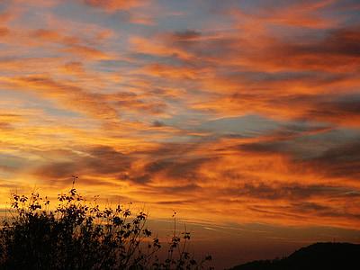 posta de sol, cel, núvols, cel de nit, capvespre, sol, vermell