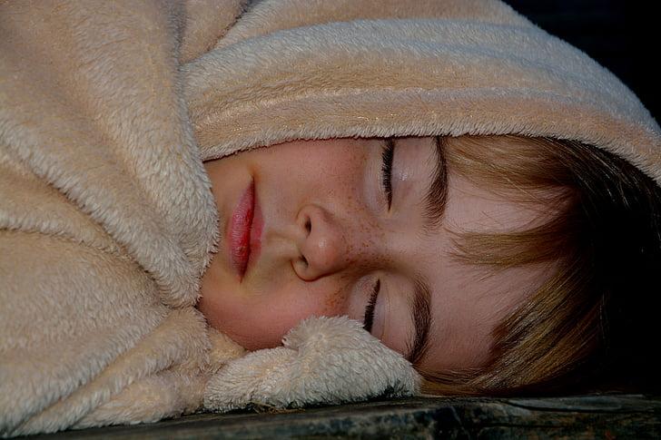 tidur, anak, Gadis, selimut, tidur, malam, lelah