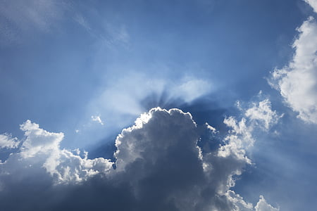 Dim, Nuage, lumière, ciel bleu et nuages blancs, Sky, partiellement nuageux, blanc
