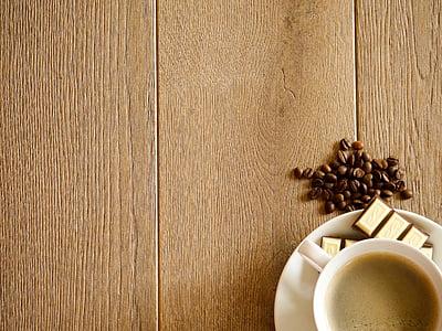 káva, šálka kávy, pohár, fazuľa, nápoj, kávové zrná, lyžica