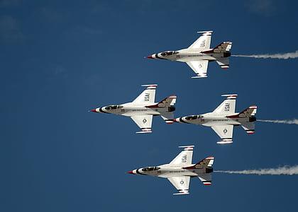 air show, thunderbirds, military, us air force, aircraft, jets, smoke