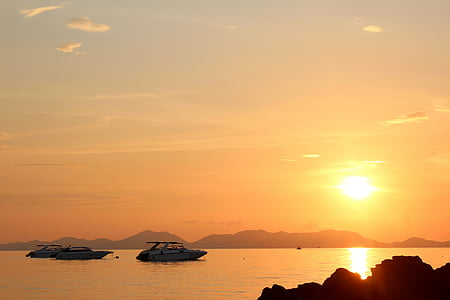 segelbåt, solnedgång, Boot, havet, Mallorca, humör, vatten