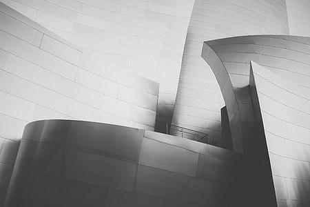 de sala de Conciertos Walt disney, arquitectura moderna, Disney, parets, 3D, corbada, doblegats