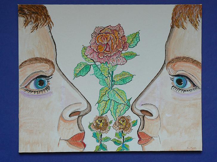 olor, nas, flor, natura, Rosa, vermell