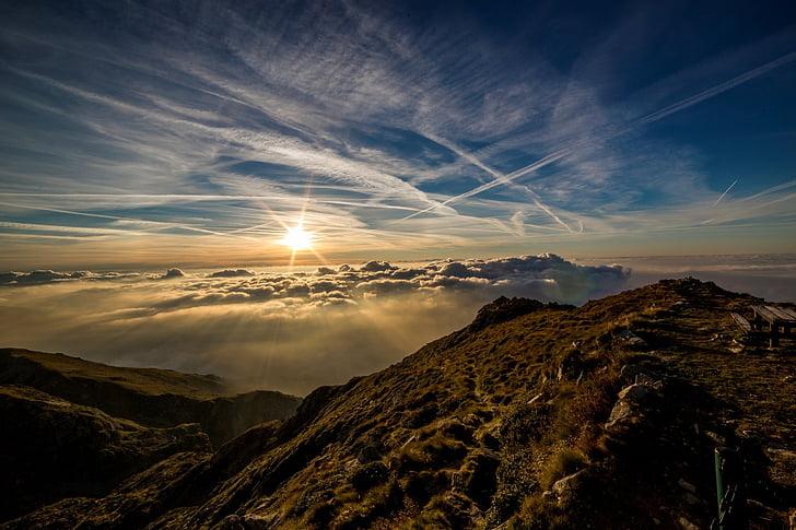 nuvole, scie di condensazione, paesaggio, montagna, natura, scenico, mare di nubi