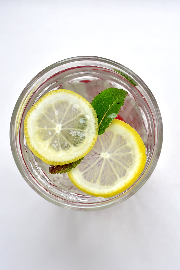drink, summer, lemon, mint, fresh, water, homemade lemonade