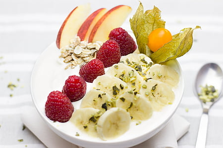 pequeno-almoço, saudável, banana, framboesas, bagas, Apple, nozes