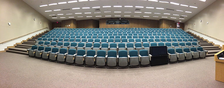 auditorium, classroom, lecture, education, empty, theater seating, audience