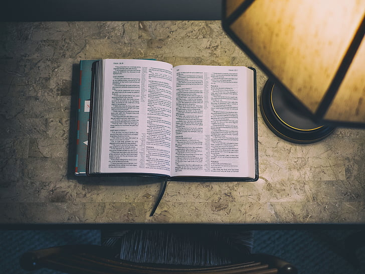 photo, bible, white, ceramic, table, near, black