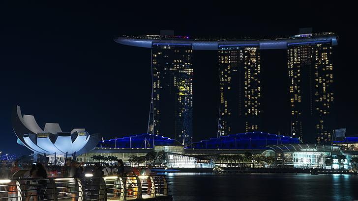 Singapore, notte, Marina, Asia, Hotel, architettura