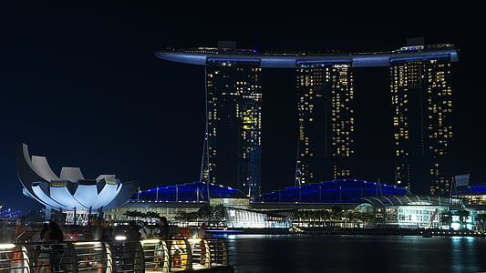 Singapura, malam, Marina, Asia, Hotel, arsitektur