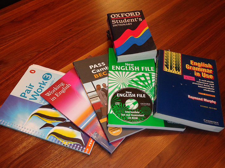 school books, english learning books, english course books, education, learning, color, book