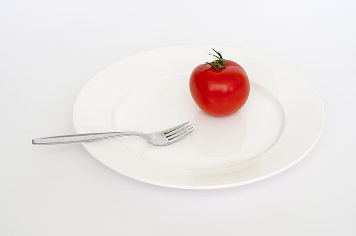placa, tomàquet, vermell, forquilla, dieta, greix, salut