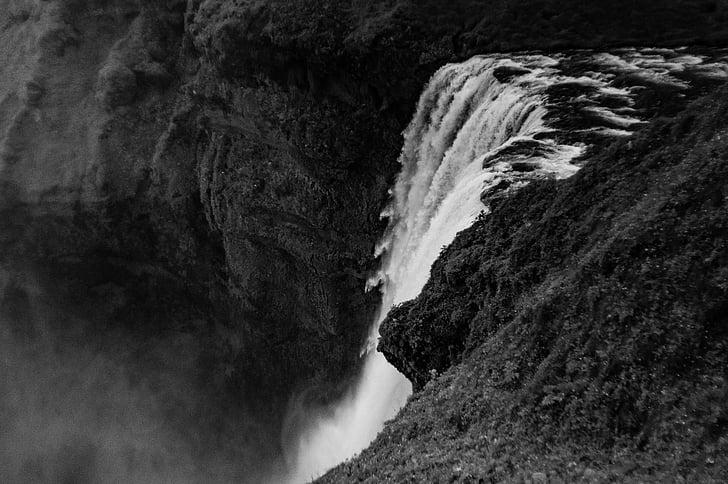 svartvit, naturen, Rocks, vattenfall, landskap, Scenics, Rock - objekt
