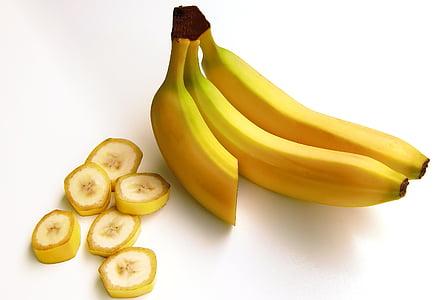 dva, jedan, narezane, banane, banane, voće, Ugljikohidrati