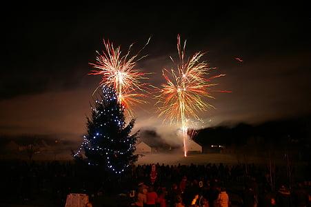 fireworks, night, fir, christmas, christmas decoration, winter, festival