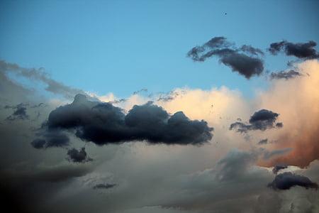 clouds, sky, output sun, dawn