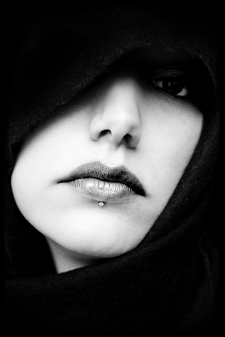 mute, seja, portrets, MS, meitene, tikai viena sieviete, viena jauna sieviete