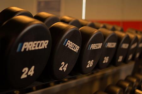 closeup, fotogrāfija, precor, svars, hanteles, trenažieru zāle, fitnesa