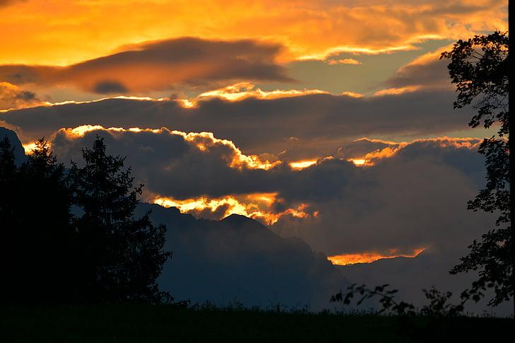nascer do sol, montanhas, céu, manhã, perspectivas, natureza, pôr do sol
