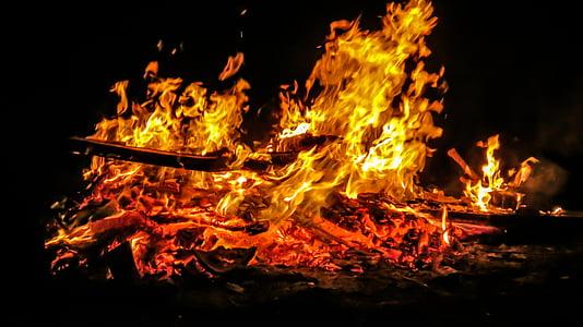 foc de Pasqua, foc, flama, Setmana Santa, costums, foc de fusta, fusta