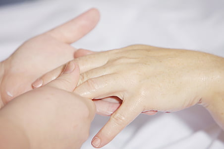 handmassage, behandling, finger, hålla, hand, handleden, hands-on