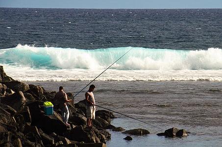 angler, lake, wave roaring, fish, water, fischer, fishing