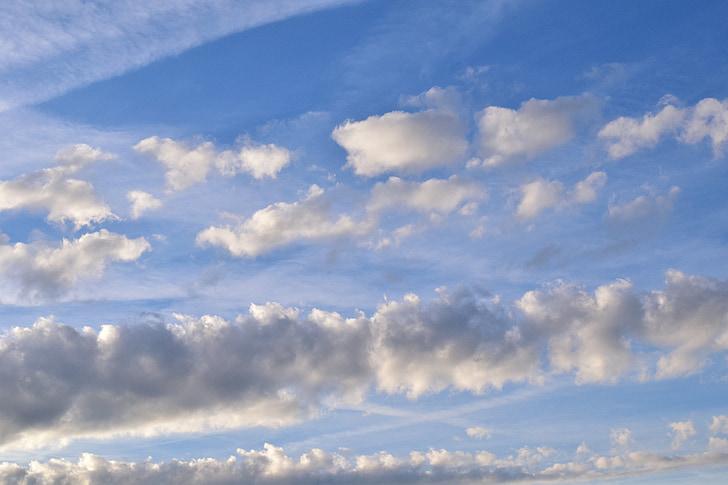 небе, облаците, синьо, облаци форма, покрити небе, небето, бели облаци