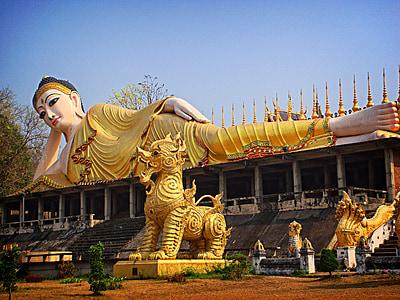 Buddha szobor, alvás, Thaiföld, Ázsia, szobor, buddhizmus, Buddha