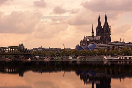 Dom, Cologne, Nhà thờ Cologne cathedral, bầu trời, Landmark, Nhà thờ, Cầu Hohenzollern