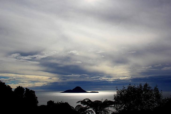 Nya Zeeland, landskap, Whale island, Molnigt, mulet