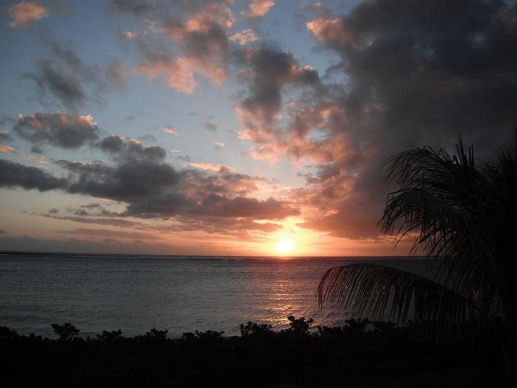 tropical sunset, seaside, cloud