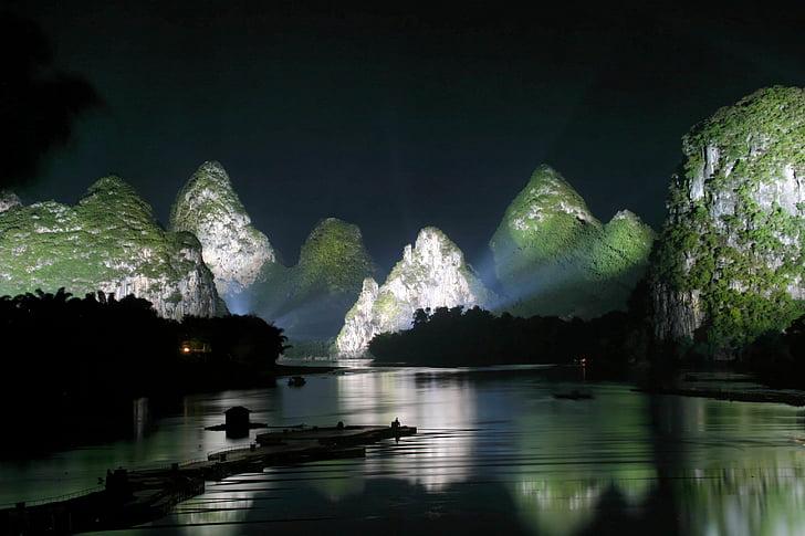 Guilin, kalni, ainava, upes, Ķīna, naktī, gaisma