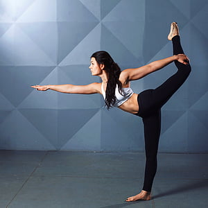 woman, wearing, white, sports, bra, female, stretch
