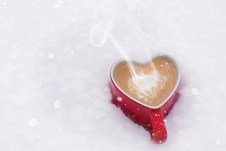 valentine's day, valentine, love, coffee, heart mug, snow, winter