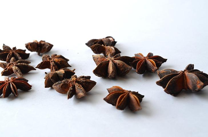 аніс, Китайський зірки анісу, Бодян справжній, зірки анісу, коричневий, смак, продукти харчування