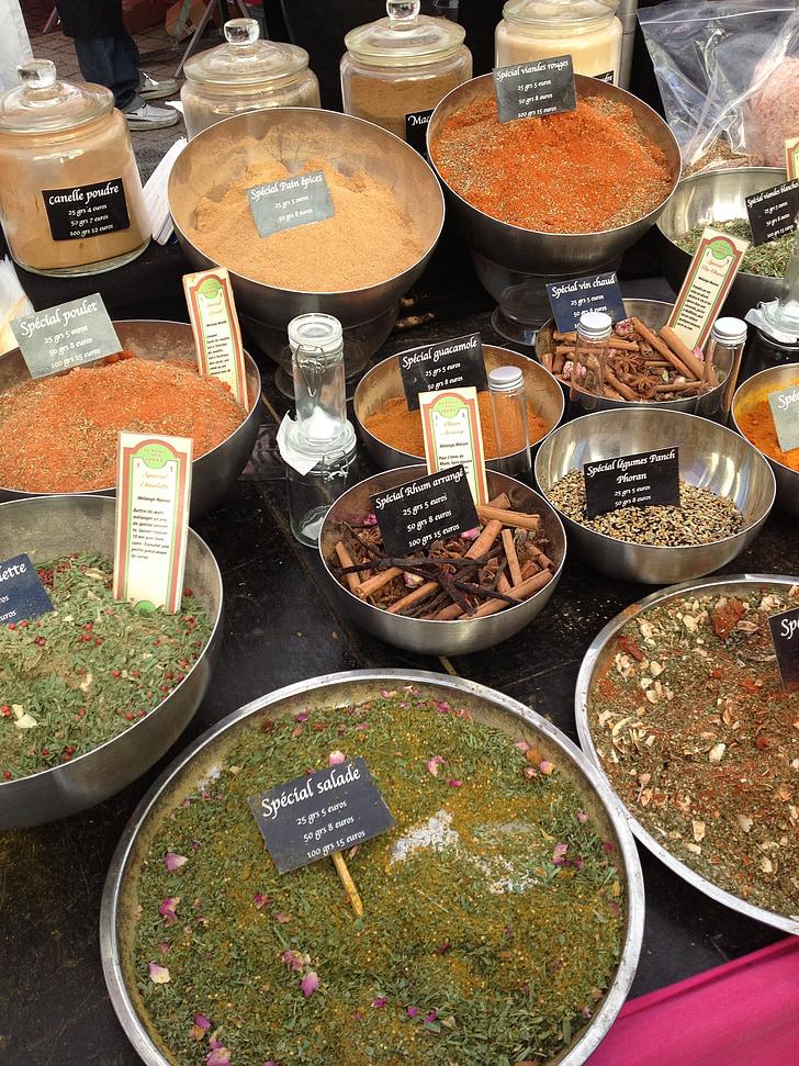 espècies, mercat, verd, cuina, exòtiques, oriental, pols