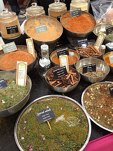 vürtsid, turu, roheline, köök, eksootiline, idamaine, pulber