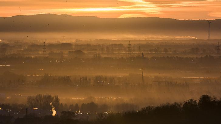 Alba, paisatge, cels, morgenstimmung, sol de matí, Alba d'hivern, cel