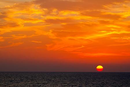 pôr do sol, noite, vermelho, paisagem, céu, abendstimmung, Crepúsculo