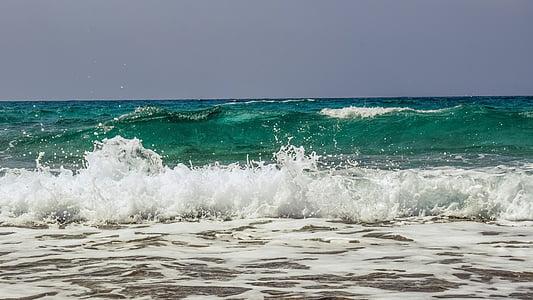 ona, trencant, escuma, esprai, Mar, natura, vent