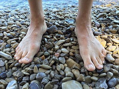 peus, descalç, platja, Llac, riba, l'estiu, peu humà