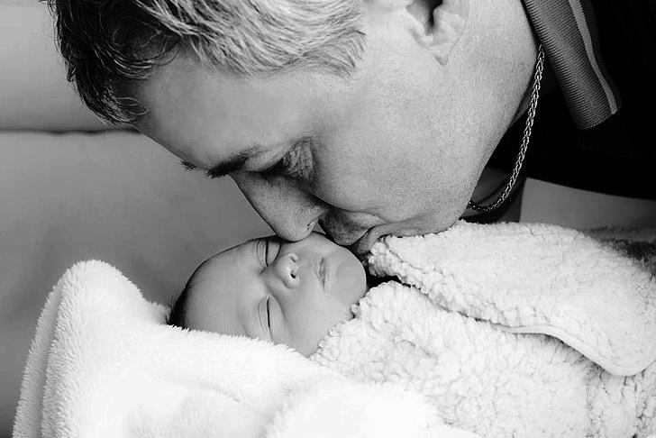 ayah, ayah, bayi, Cinta, bayi baru lahir, bayi, hitam dan putih