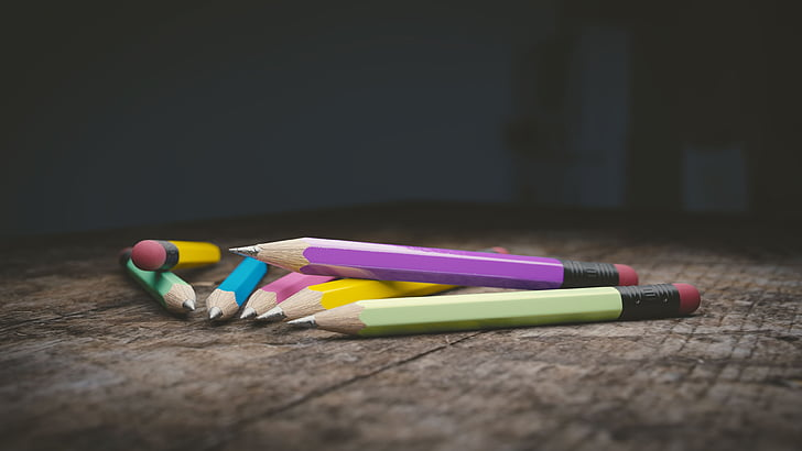 молив, дърво молив, образование, писане, много цветни, няма хора, пастел