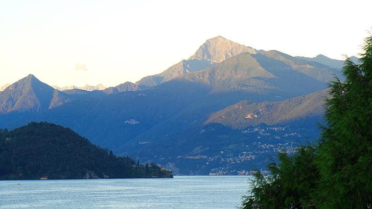 Lago, montanhas, humor