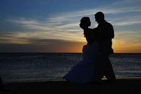 couple, wedding, married, marriage, romantic, background, beach